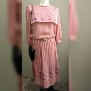 3 for 25 Vintage Pink pleated Dress from the 70s